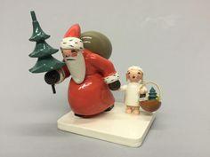 Vintage Erzgebirge Expertic Santa Holding Christmas Tree w/Angel Holding Basket