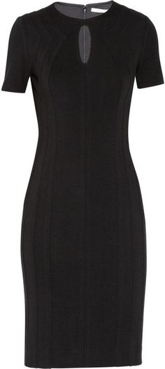 Diane Von Furstenberg Black Kader Pleated Ponte Dress