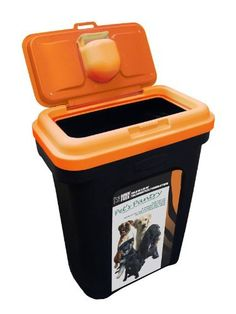 pet food storage container black holds 15 25 kg orange lid rubber airtight seal