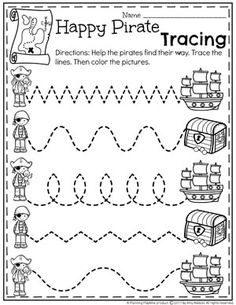 Preschool Pirates Worksheets for Summer - Tracing Lines