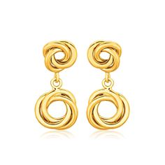 On Sale ! 14K Yellow Gold Love Knot Stud Earrings with Drops