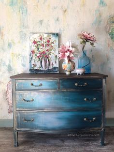 Stunning Blue Lagoon Dresser #paintedfurniture #affiliate #furniture