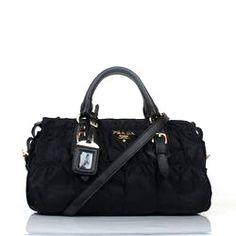 bfdf4d9a8885 €130.00 Sale Prada Gaufre Fabric Top Handle Bn1407 Black Outlet Prada Bag, Prada  Handbags