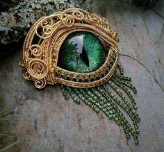 Gothic Steampunk Gold Evil Eye Pin Pendant in by twistedsisterarts, $149.95