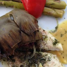 In-the-oven 5 herb-fish with asparagus and artishoke.