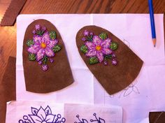 pink floral beadwork for mukluks in progress Indian Beadwork, Native Beadwork, Native American Beadwork, Native Beading Patterns, Seed Bead Patterns, Beaded Moccasins, Bead Sewing, Nativity Crafts, Beaded Crafts