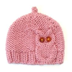Pink Owl Cable Knit Hat por laceandcable en Etsy