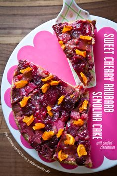 Sweet Cherry Rhubarb Semolina Cake with Candied Clementines #Recipe. By Irvin Lin of Eat the Love. www.eatthelove.com