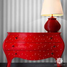 Modern Polka Dot Pattern - Designer Furniture Stencils for Cute Nursery Decor and Painted Furniture