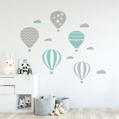 Urban: Air Balloon Wall Decal Fun hot air balloons wall decals to decorate your kids bedroom! Nursery Decals, Kids Wall Decals, Wall Stickers, Baby Room Design, Baby Room Decor, Balloon Wall, Air Balloon, Small Balloons, Kids Room Paint
