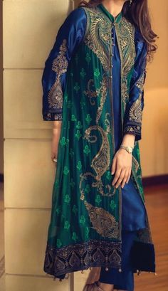 Buy NavyBlue/Dark Green Embroidered Chinese Chiffon Gown Style Dress by Maria B… Pakistani Gowns, Pakistani Outfits, Indian Outfits, Gown Style Dress, Dress Up, Desi Clothes, Indian Attire, Indian Designer Wear, Saris