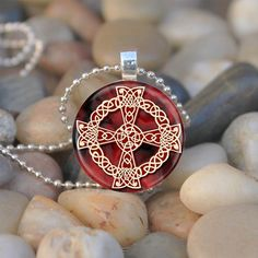 Red and Gold Celtic Cross - glass tile pendant