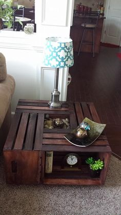 Table made using wooden crates! http://craftswithyumika.weebly.com/