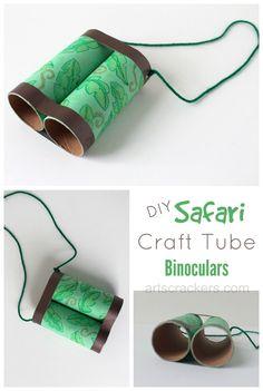 Safari Binoculars Craft Tutorial Kids Crafts, Toddler Crafts, Preschool Crafts, Preschool Jungle, Summer Crafts, Craft Kids, Craft Projects, Baby Crafts, Safari Party