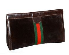 Splurge on this Vintage GUCCI Clutch for fall, and feel good about spending every penny, because it's a savvy buy and your boney is going to a small business.     Large Dark Brown Suede Web Handbag -AUTHENTIC -