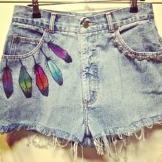 denim feather shorts