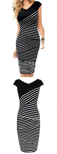 Black Stripes V Neck Bodycon Dress-CHOIES