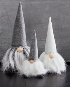 Gnomes, sweet gnomes! A fun and festive seasonal tradition here at Garnet Hill, funny felt gnomes, elves, and trolls are staples of our holiday collection.Handcrafted from polyester felt and faux furThey make a fun statement solo or in the trio of offered sizesLarge (16 H x 7 W) is charcoal with a gray and white beardMedium (14 H x 5 1/2 W) is all whiteSmall (11 H x 4 1/2 W) has charcoal hat and feet with a snowy white beardFor decorative use onlyImported