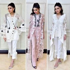 These stunning pieces from Eid collection are on top of our wish list 😍🌟Don't forget to drop by at her Eid exhibition on the of June to at Main National Highway Phase 2 Defence ✨ Pakistani Fashion 2017, Pakistani Wedding Outfits, Pakistan Fashion, Pakistani Dresses, Indian Outfits, Indian Fashion, Stylish Dresses, Casual Dresses, Fashion Dresses