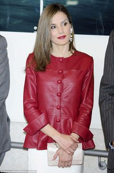 Leather Skinny Trousers, Leather Peplum, Leather Jacket, Leather Cuffs, Black Leather, Robes Western, Western Dresses, Princess Letizia, Queen Letizia