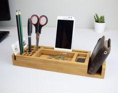 Organizador de escritorio, regalo personalizado, organización del escritorio, sostenedor de la pluma, sostenedor del teléfono, accesorios de oficina, todos, organizadores de oficina, bandeja escritorio