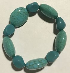 Excited to share the latest addition to my #etsy shop: Chunky Turquoise Bracelet.Turquoise How lite Turquoise glass beaded bracelet on elastic string https://etsy.me/2ql07Kn #jewelry #bracelet #blue #women #turquoise #yes #crystal #oval #avantgarde