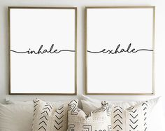 Inhale Exhale Print Yoga Pilates Poster Relaxation Gifts Breathe Inspirational Modern Minimalist Typography Art