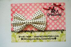 cream black polka dot headband bow headband by BBMCreations