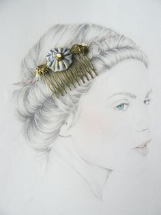 Peigne Métal Bronze, Fleur Tissu, Breloques Eléphants, Perles de Verre : Accessoires coiffure par maj