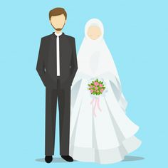 Muslim bride and groom cartoon characters illustration Premium Vector
