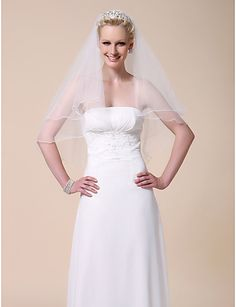 Two-tier Elbow Wedding Veil With Pencil Edge - USD $ 9.99
