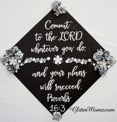 proverbs 16 3 custom graduation topper decoration graduation topper flowers and rhinestones Graduation Cap Toppers, Graduation Cap Designs, Graduation Cap Decoration, Grad Cap, 8th Grade Graduation, Graduation Diy, Graduation Pictures, Nursing Graduation, Graduation Attire