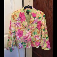 Rafaella Pink, Green & Yellow Floral Blazer Rafaella pink, green, and yellow floral blazer. Size 8. Rafaella Jackets & Coats Blazers