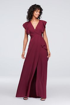 7d920f44c15 Soft flutter sleeves trim this V-neck chiffon bridesmaid dress