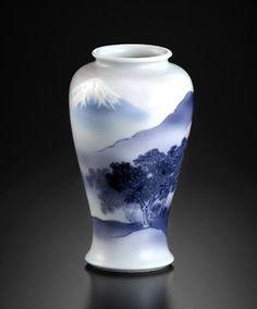 紫釉富岳画花瓶 Makuzu Kozan Vase
