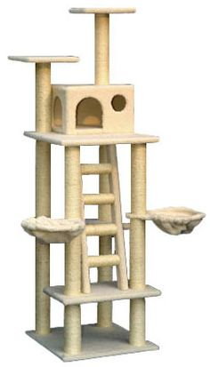 "Cat Tree Tower with Two Nests - Overall size 42""Lx29""Wx72""H - Covering materials Faux Fur or Faux Sheepskin - Board material pressed wood - Base 23.5""x22"" - One cat condo 15""Lx12""Wx10""H - Two top platforms 12""x12"" - Two nests 12""diameter - Eight sisal cat scratching posts. They measure 3.5"" and are wrapped in 1/4"" sisal rope"