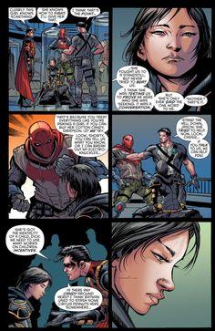 Cassandra Cain reads Dick Grayson, Jason Todd and Tim Drake Tim Drake, Jason Todd, Nightwing, Barbara Gordon, Damian Wayne, Red Hood, Gotham City, Comic Style, Univers Dc