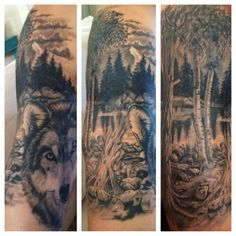 Love this tattoo... Half sleeve = so hot! Wolf, mountains, trees, outdoors, tattoo, nature