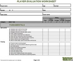 soccer player evaluation form soccer player evaluation form - Google Search | Soccer | Pinterest ...
