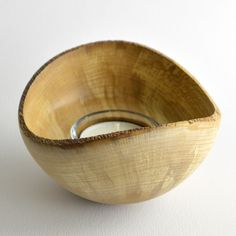 Spalted Beech Tea-Light Bowl with Natural Edge