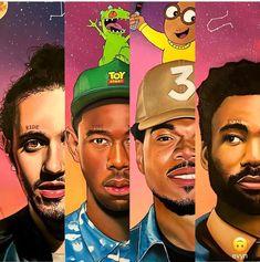 Rooting for Tyler the Creator and Glover ❤💙 Black Love Art, Black Girl Art, Art Girl, Rapper Art, Black Art Pictures, Hip Hop Art, Black Artwork, Afro Art, Dope Art