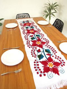 Handmade Mexican Holiday Table Runner | Chiapas Bazaar | Handmade Mexican Blouses, Accessories & Home Decor from Rural Artisans |Christmass collection Mexican Christmas Decorations, Mexican Holiday, Holiday Decor, Holiday Gifts, Jingle All The Way, Christmas Embroidery, Christmas Time, Elsa, Crafts