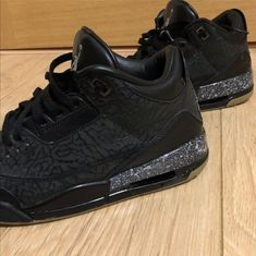 JORDAN 3 SNEAKERS. Custom Jordans. Custom sneakers. Painted sneakers. Black jordan. Angelus paint. Leather paint. DYI Custom Jordans, Custom Sneakers, Jordan 3, Painted Sneakers, Black Jordans, Dyi, All Black Sneakers, Photo And Video, Leather