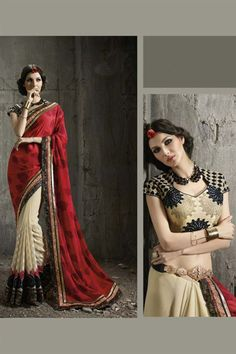 Red-Beige Jacquard #Saree with Dhupion Blouse $-89