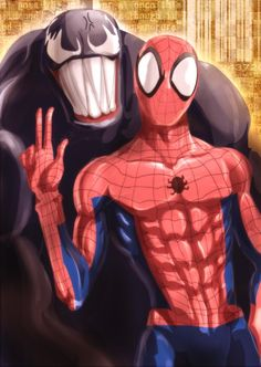 """*fighting awesomely in front of the Daily Bugle. Reporter comes out """"Hey Spiderman! pose for the camera!"""""""