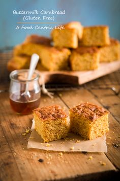 Gluten-free cornbread with buttermilk and honey. Big corn flavor and a tender, golden crumb. Easy and quick to mix together in one bowl, and bake for just 20-22 minutes.