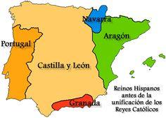 Las Españas antes de la unión de Isabel de Castilla con Fernando de Aragón. Nótense el reino de Granada en el sur -- todavía parte del mundo árabe.
