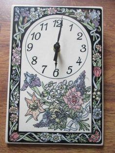 Santa Barbara Ceramic Design Floral Porcelain Tile Wall Clock Works Battery Op | eBay Ceramic Design, Porcelain Tile, Santa Barbara, Pottery Art, Wall Tiles, Flower Designs, Green And Grey, Stoneware, Arts And Crafts
