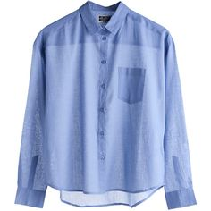 Mtwtfss Weekday Octave Shirt Blue found on Polyvore featuring tops, blouses, shirts, button ups, women, blue button down shirt, button-down shirts, mtwtfss weekday, shirts & blouses and button up blouse