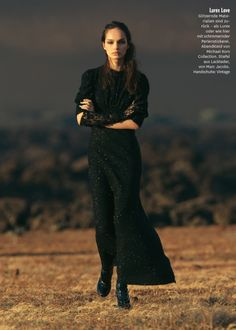 "Luma Grothe is ""Black is Black"" for Glamour Germany September 2015 by Hans Feurer [editorial]"